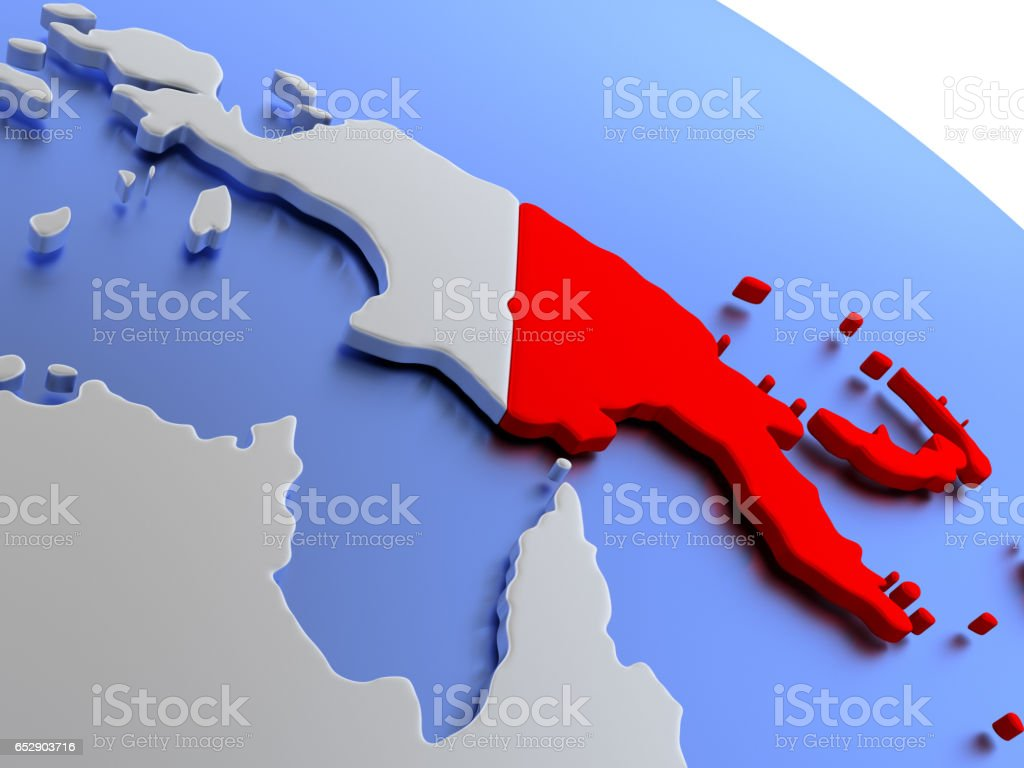 Papua New Guinea On World Map Stock Photo - Download Image ...