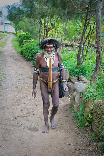 papuanische mann, wamena, papua, indonesien - enge kleider stock-fotos und bilder