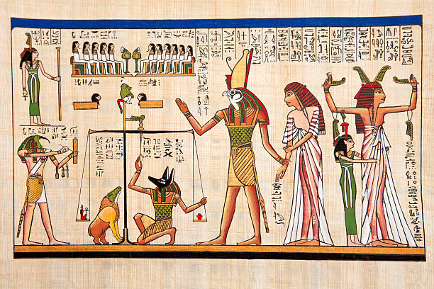 Papyrus Antique egyptian papyrus and hieroglyph papyrus paper stock pictures, royalty-free photos & images