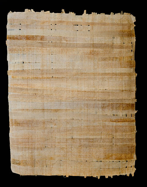 Papyrus Egyptian Papyrus paper on a black background. papyrus paper stock pictures, royalty-free photos & images
