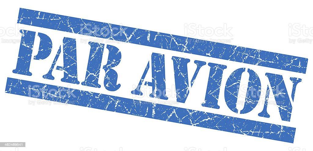 Par Avion grunge blue stamp stock photo