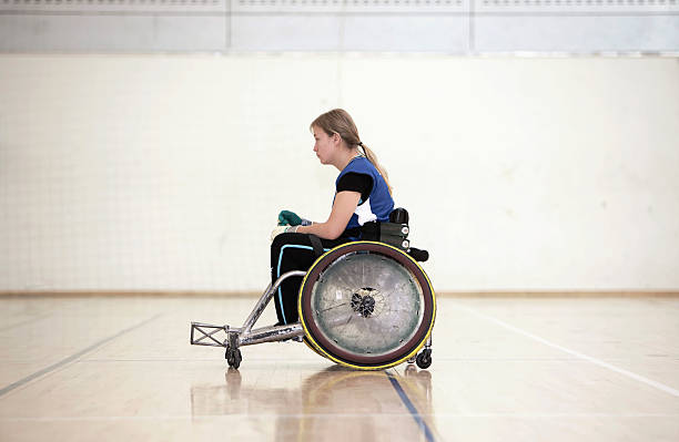 para rugby player in wheelchair - wheelchair sports stock photos and pictures