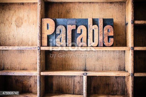 The word PARABLE written in vintage wooden letterpress type in a wooden type drawer.