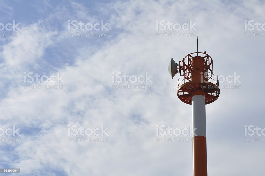 Parabola on a red and white tower royalty-free stock photo