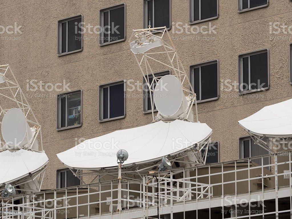 Parabolic antenna stock photo