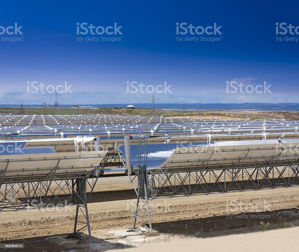 Parabolic solar trough collector stock photo