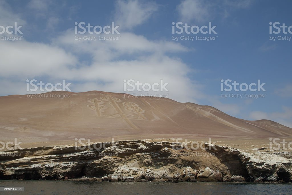 Paracas Candelabra Geoglyph stock photo