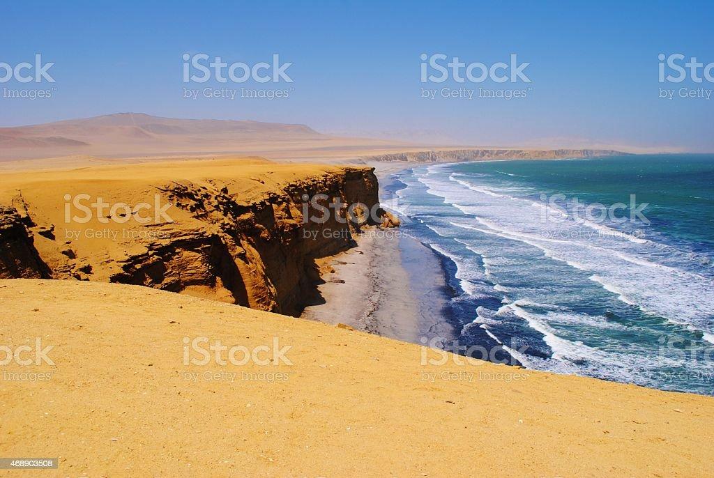 Paracas Coastline in a Tropical Desert, Peru stock photo