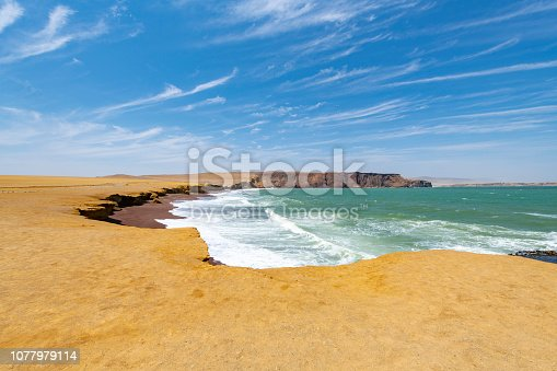 The desert of the Paracas National Reserve in south west Peru, South America.
