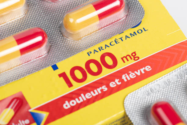 Paracetamol pain and fever medication box Paracetamol pain and fever medication box antipyretic stock pictures, royalty-free photos & images