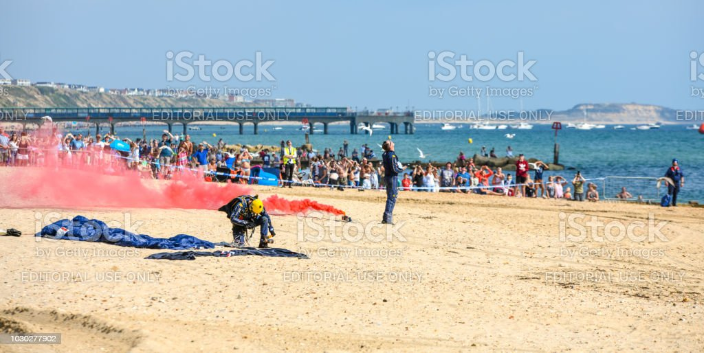 RAF parachute display in Bournemouth stock photo