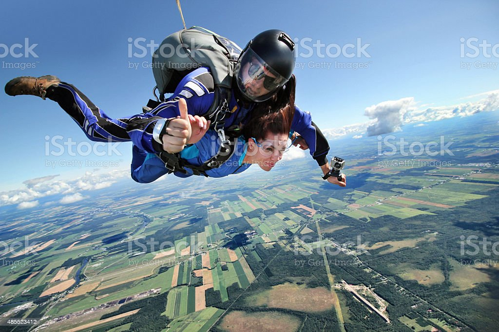 Parachute jumping stock photo