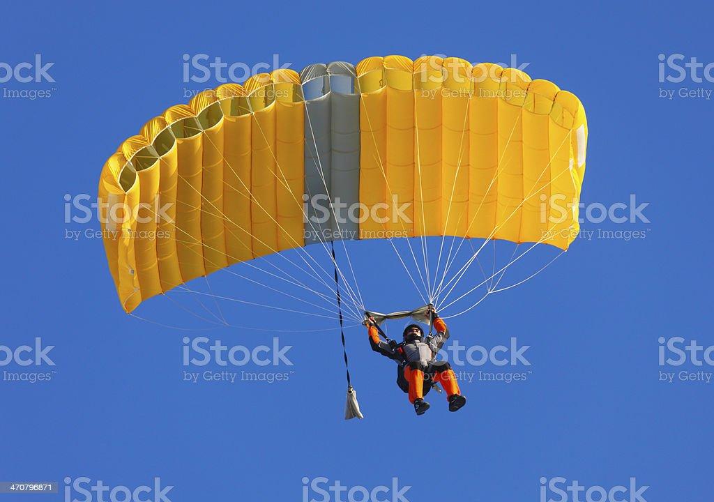 Parachute on a clear blue sky  stock photo