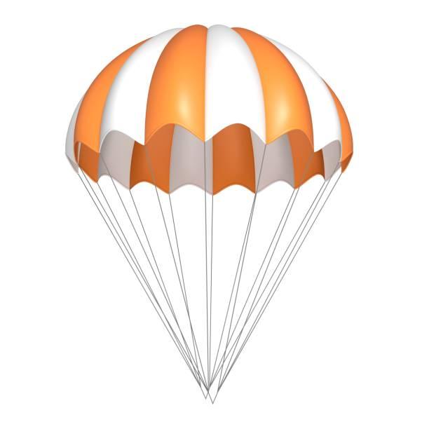Parachute, orange with white, striped. stock photo