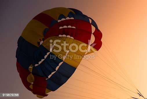 Parachute, Parasailing, extreme sports on sunset