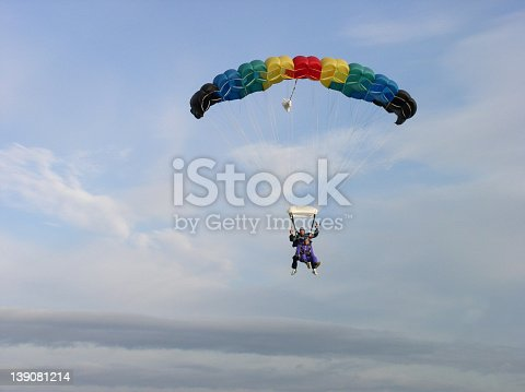 Two people doing a tandem jump.