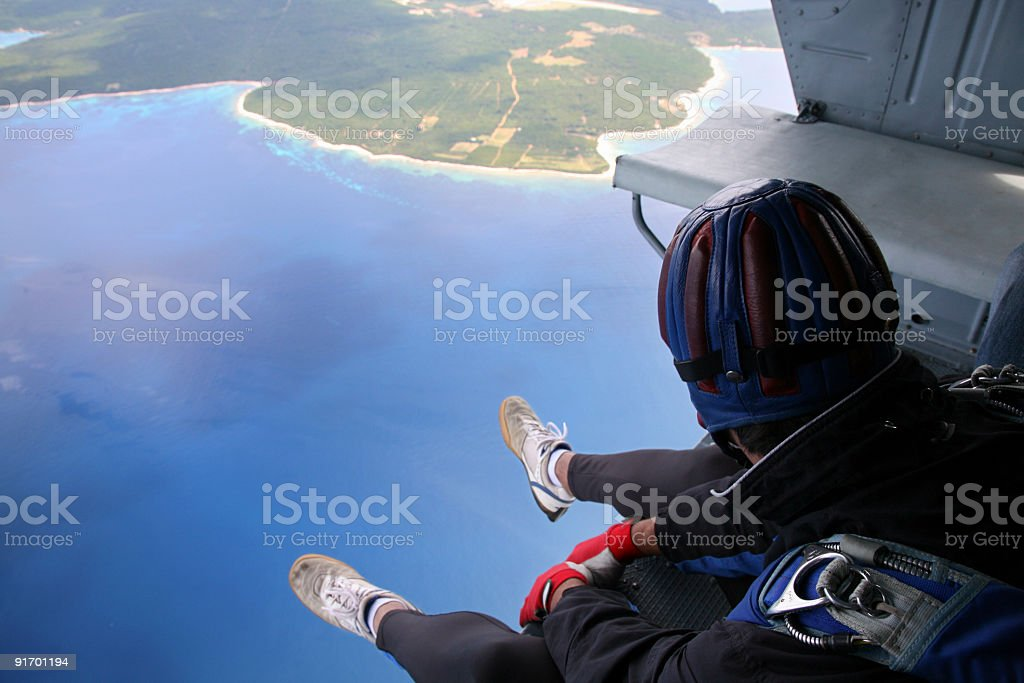 Parachuter before jump from the helicopter stock photo