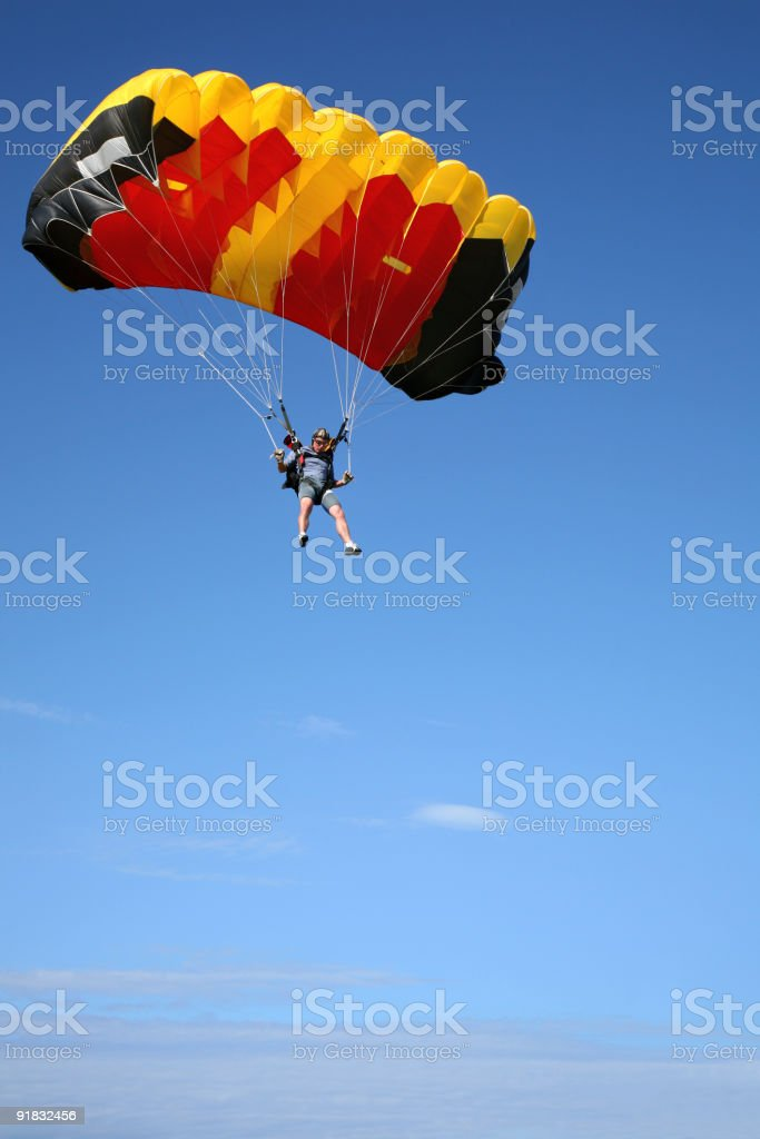Parachuter in air royalty-free stock photo