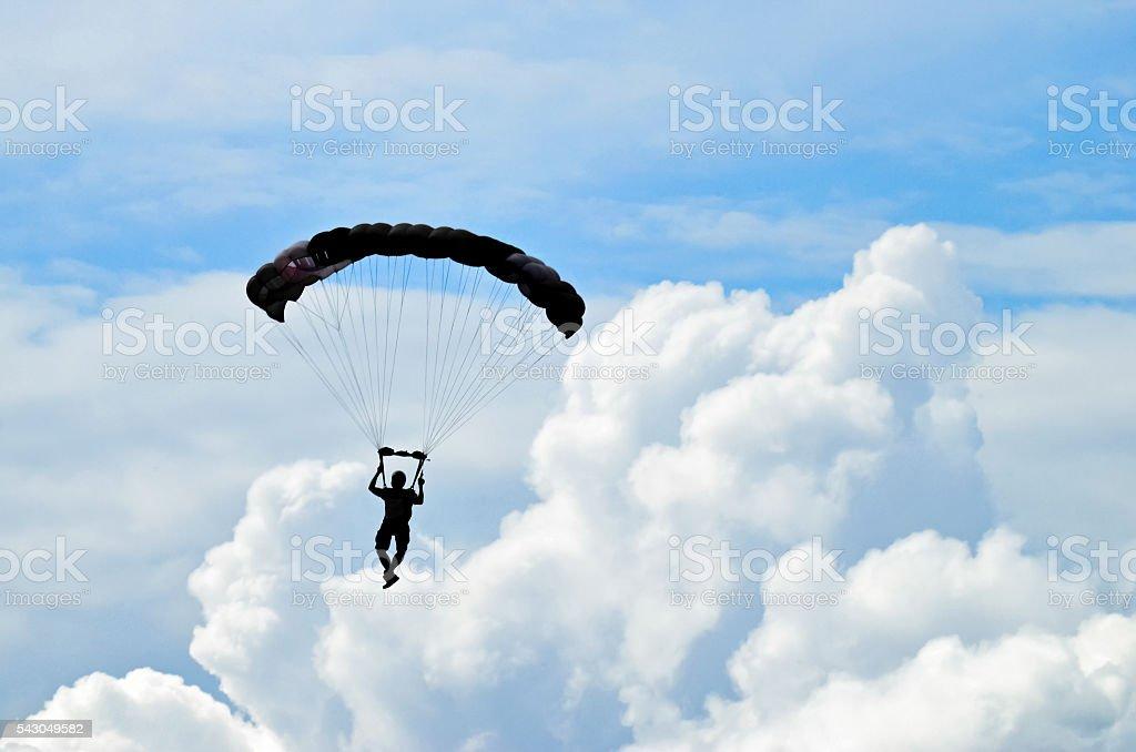 Parachuter silhouette stock photo
