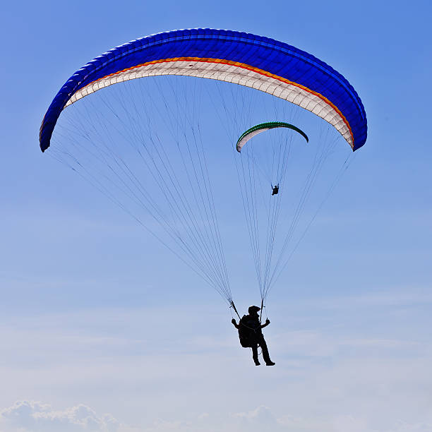 Parachuters performing at  Zagreb Air Show 2011 stock photo