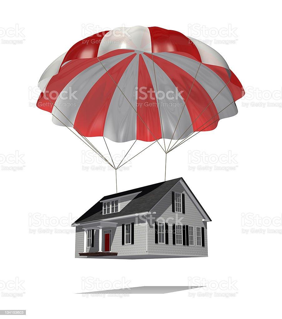 Parachuting House stock photo