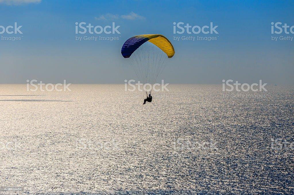 Parachuting over seascape at San Francisco of California stock photo