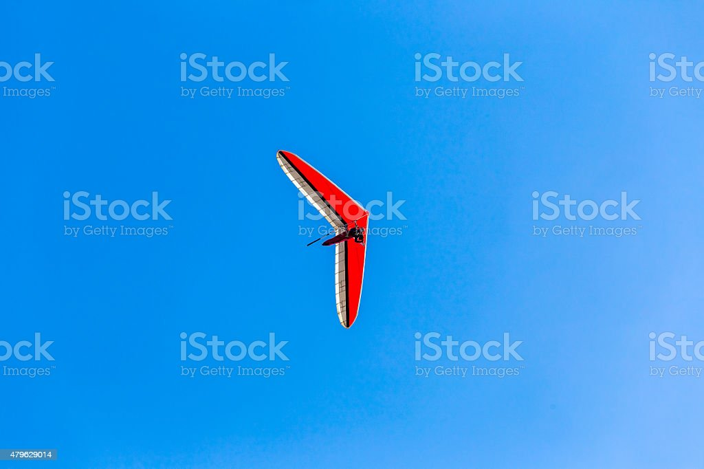 Parachuting over sky at San Francisco of California stock photo