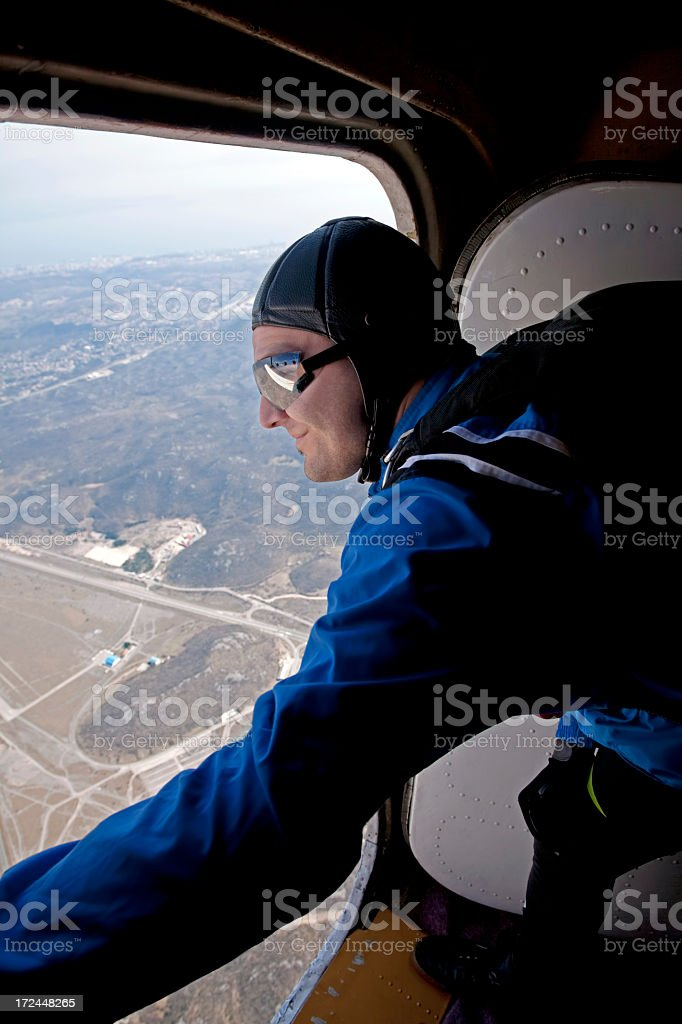 Parachutist before jump from a plane royalty-free stock photo