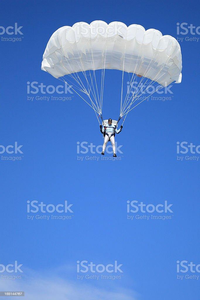 Parachutist in air stock photo