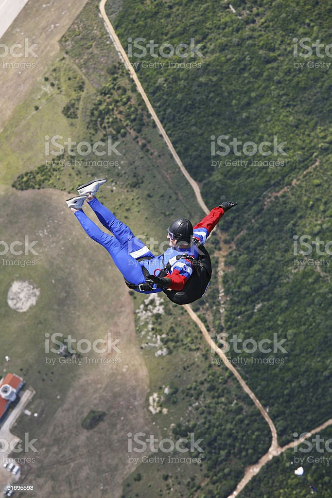 Parachutist in the air royalty-free stock photo
