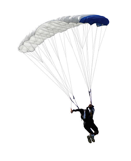 parachutist isolated paratrooper parachute jump in isolated parachuting stock pictures, royalty-free photos & images