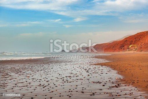Parachutist on the coast of Sidi Ifni, Atlantic Ocean,Morocco,North Africa,Nikon D3x