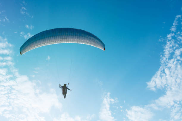 Parachutist soaring in a beautiful blue sky with light clouds Parashutist soaring in a beautiful blue sky with light clouds. Beautiful planning. paragliding stock pictures, royalty-free photos & images