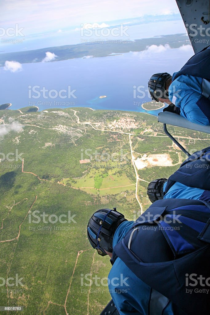 Parachutists in Helicopter-above Losinj Island-Croatia royalty-free stock photo