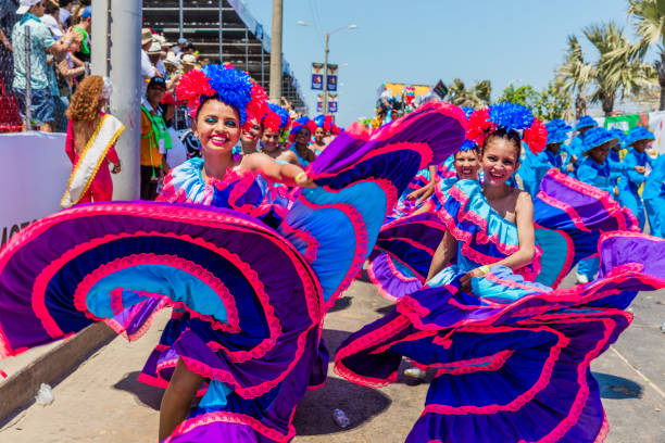 parade carnival festival of  Barranquilla Atlantico Colombia stock photo