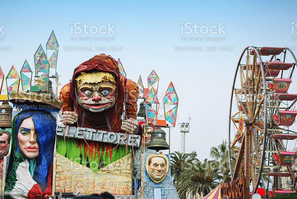 Parade float during the Carnival of Viareggio stock photo