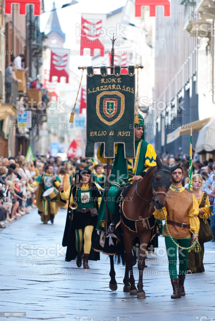Parade of a prince on horseback, Palio in Italy stock photo