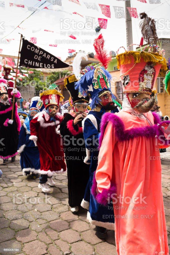 Parade of chinelos in Mexico city stock photo