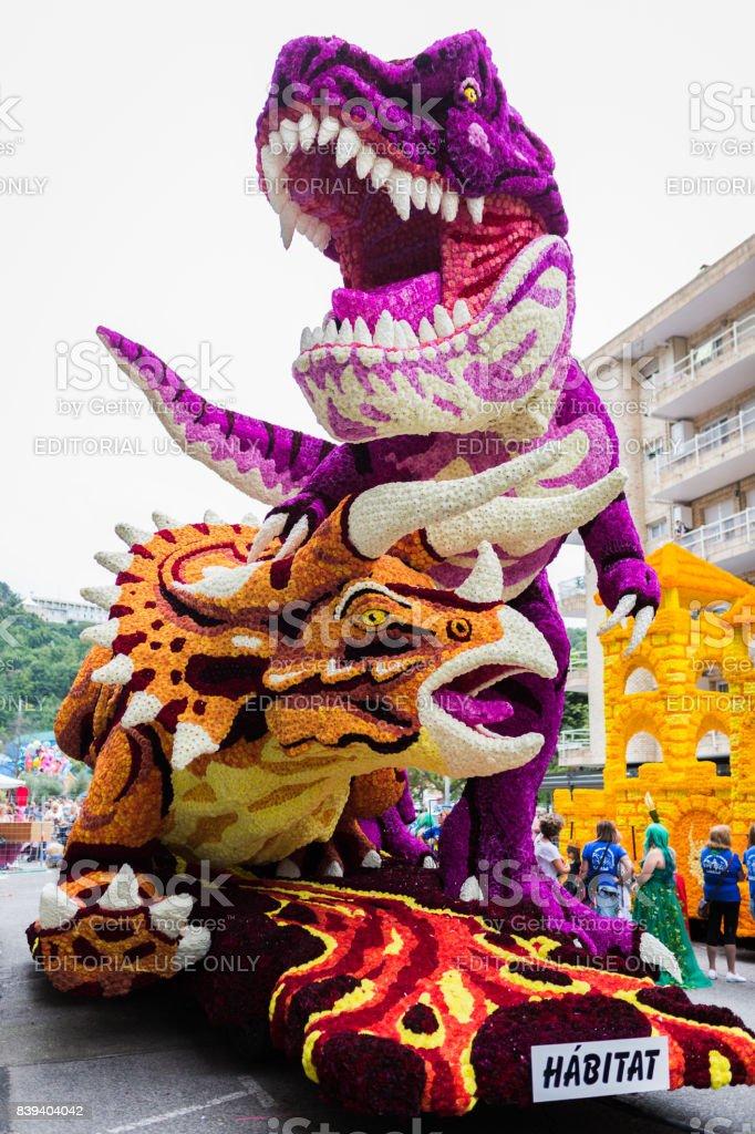Parade of dinosaur stock photo