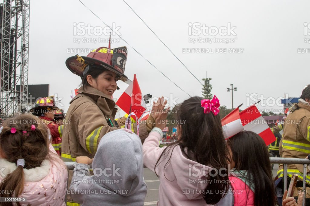 Parade Of Firemen For The Reason Of Peruvian Independence Day Stock Photo Download Image Now Istock