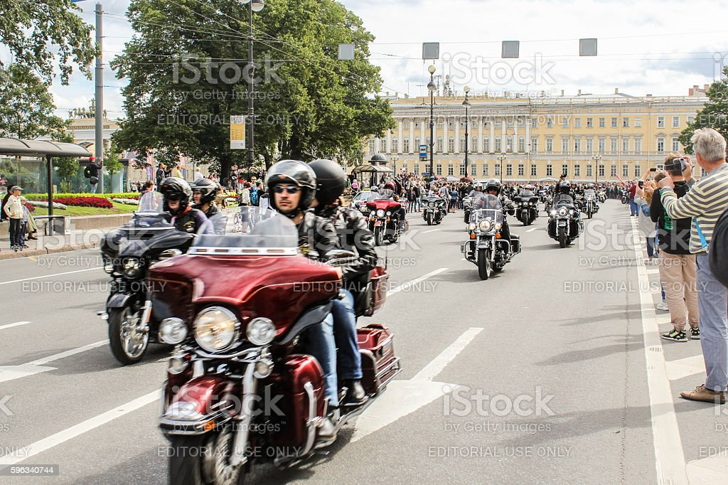 Parade of Harley Davidson in St. Petersburg. royalty-free stock photo