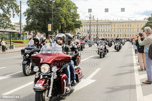 Parade Of Harley Davidson In St Petersburg Stock Photo & More Pictures of Biker