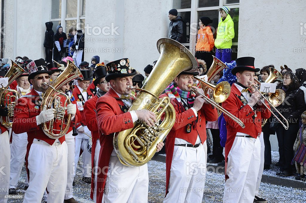 Parade of orchestras at the German carnival Fastnacht stock photo