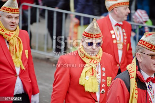 A parade of princely carnies at the colourful 2019 Dortmunder Rosenmontag (Rose Monday Carnival). Dortmund - Germany.