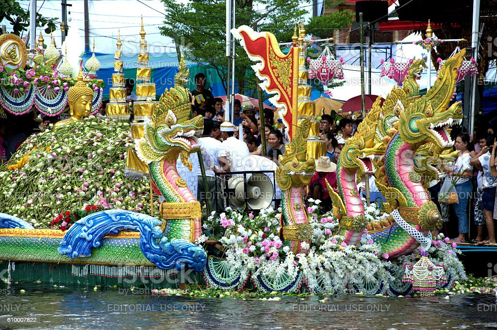 Parade of Rub Bua Festival ( Lotus Throwing Festival ) in Thailand. stock photo