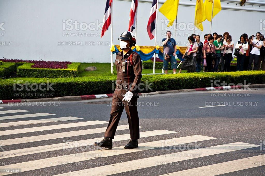 Parade of the kings Guards,  Grand Palace in Bangkok royalty-free stock photo