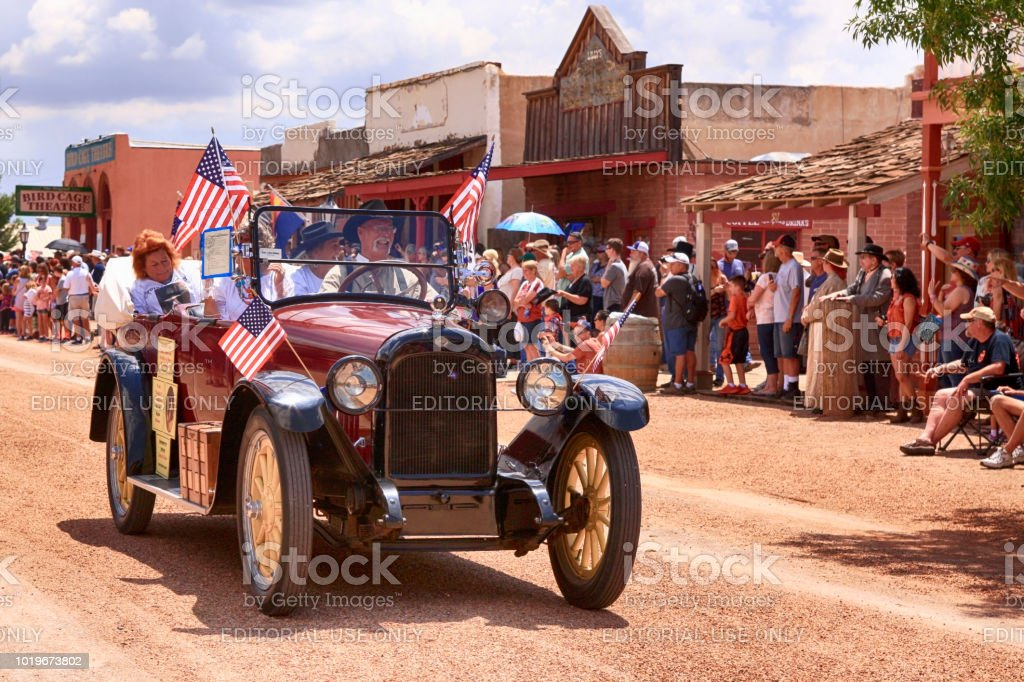 Parade of vehicles at the annual Doc Holiday parade in Tombstone,...