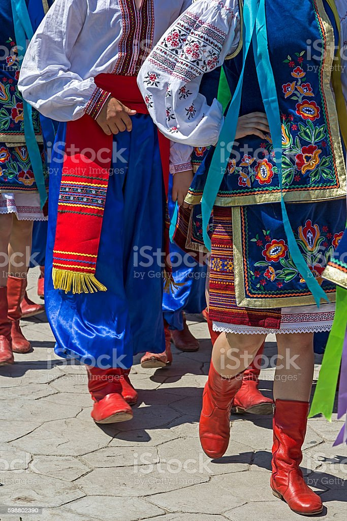Parade of young Ukrainians in traditional costume stock photo