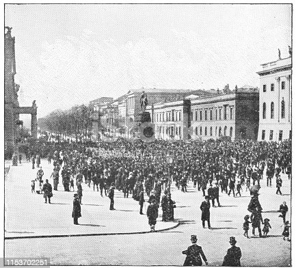Parade on Unter den Linden in Berlin, Germany. The German Empire/Imperial Germany era (circa mid 19th century). Vintage halftone photo etching circa late 19th century.