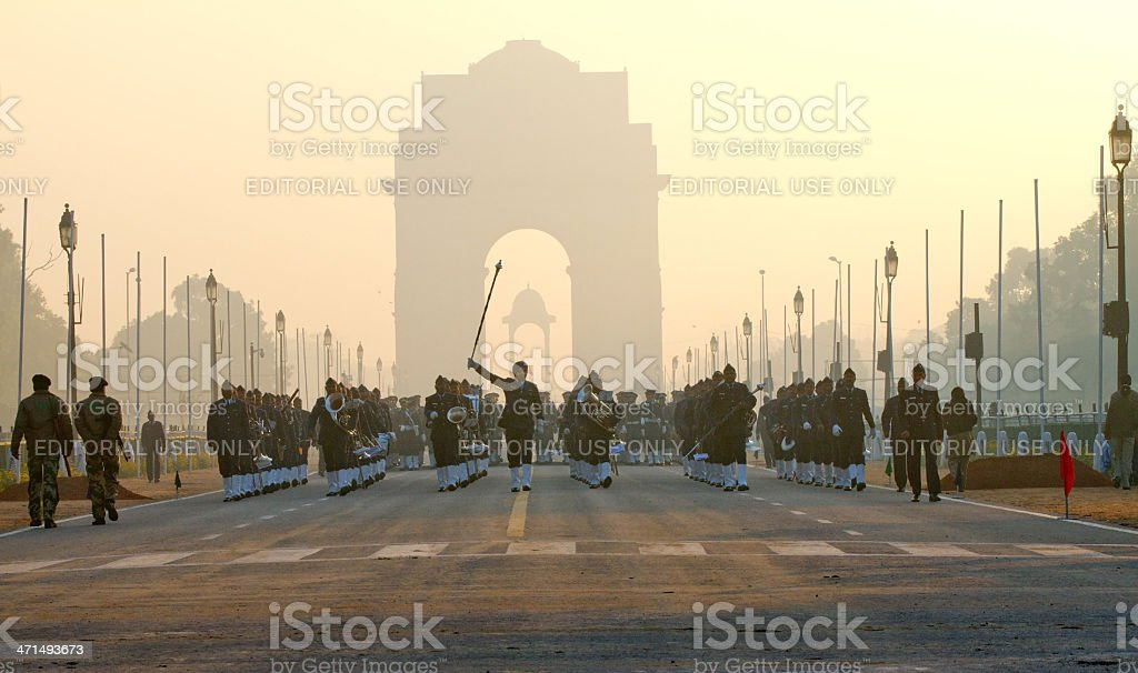Parade practice, New Delhi, India stock photo